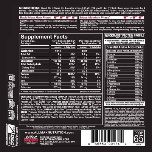 allmax nutriton quickmass gainer 6lbs nutrition facts