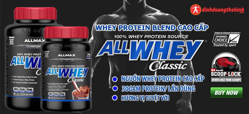 Sữa tăng cơ Allmax AllWhey Classic 5lbs (2.27kg) là sản phẩm whey protein blend sản xuất trên dây chuyền công nghệ hiện đại. Với 30g Protein mỗi lần dùng.